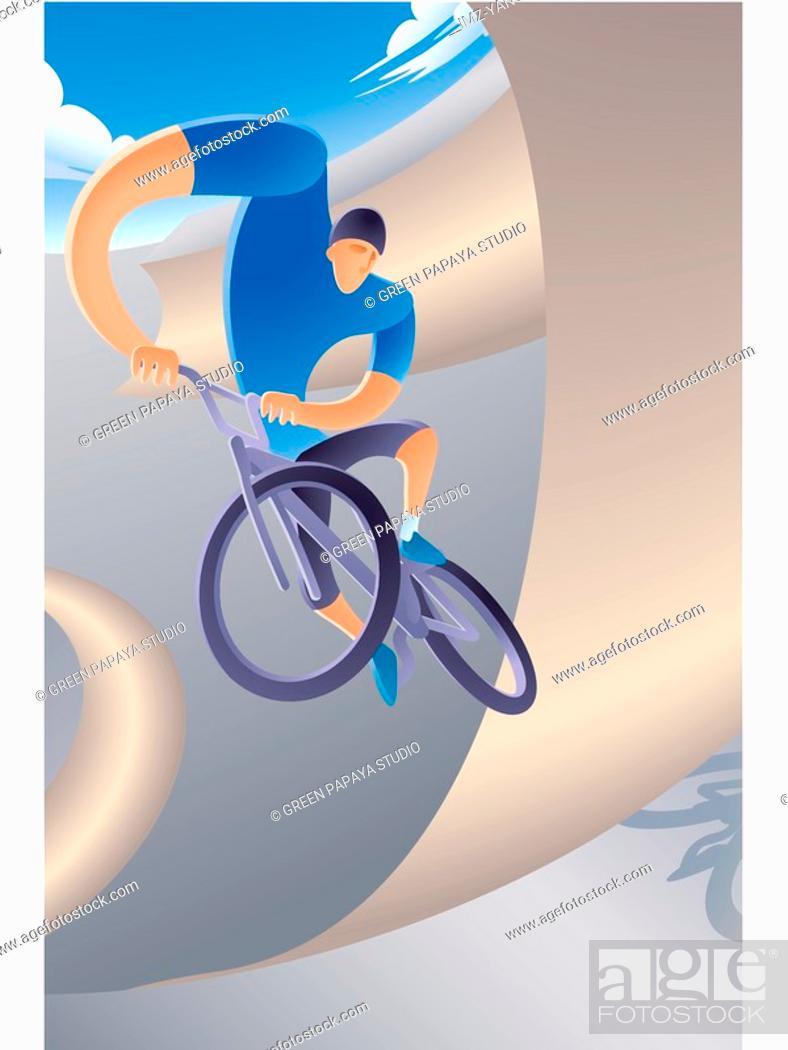 Stock Photo: Extreme biking.