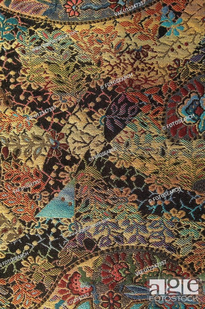 Stock Photo: Carpet, Close-Up, Design, Embroidery, Indoors.
