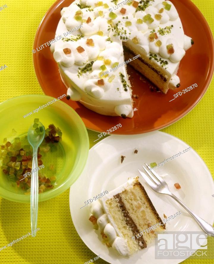 Zuppa Romana Layered Sponge Cake With Cream Filling Stock Photo