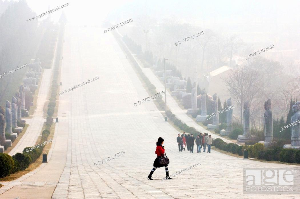 Stock Photo: Qianling Mausoleum, Shaanxi Province, China  Statue lined spirit path leading from tomb of Tang Dynasty emperor Li Zhi  Winter.