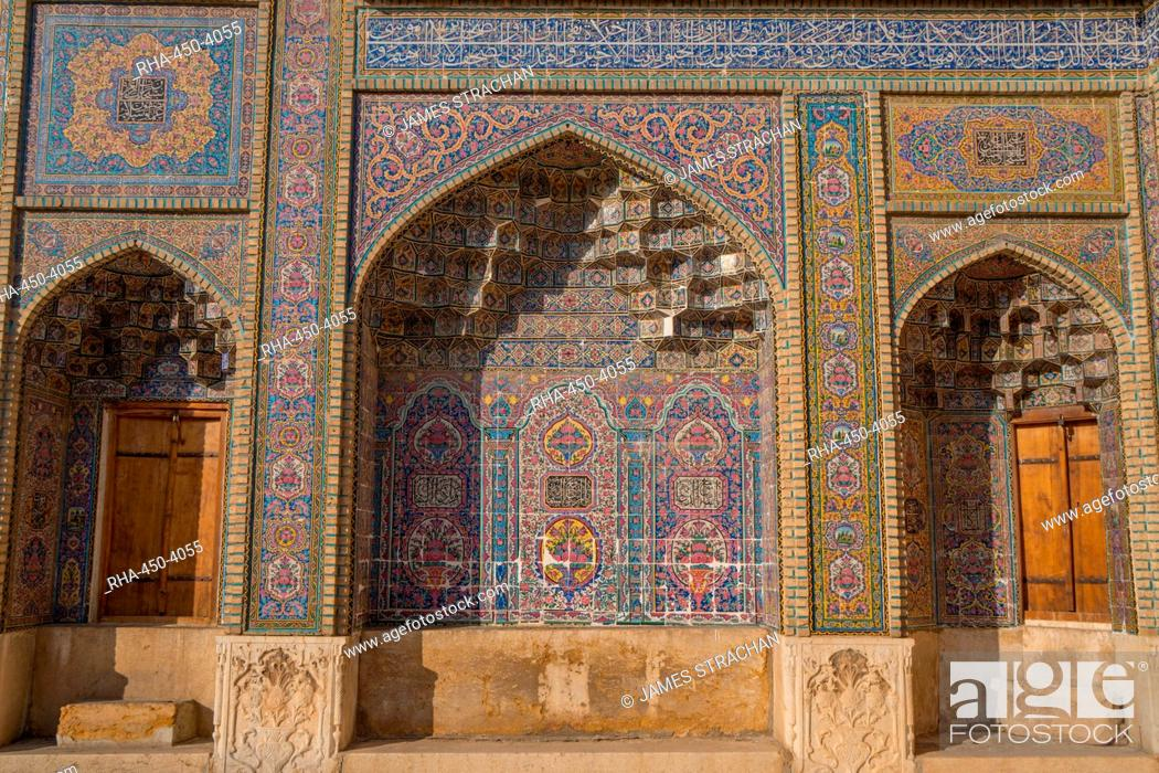 Stock Photo: Late 19th century tiling at Nasir-al Molk Mosque, Shiraz, Iran, Middle East.