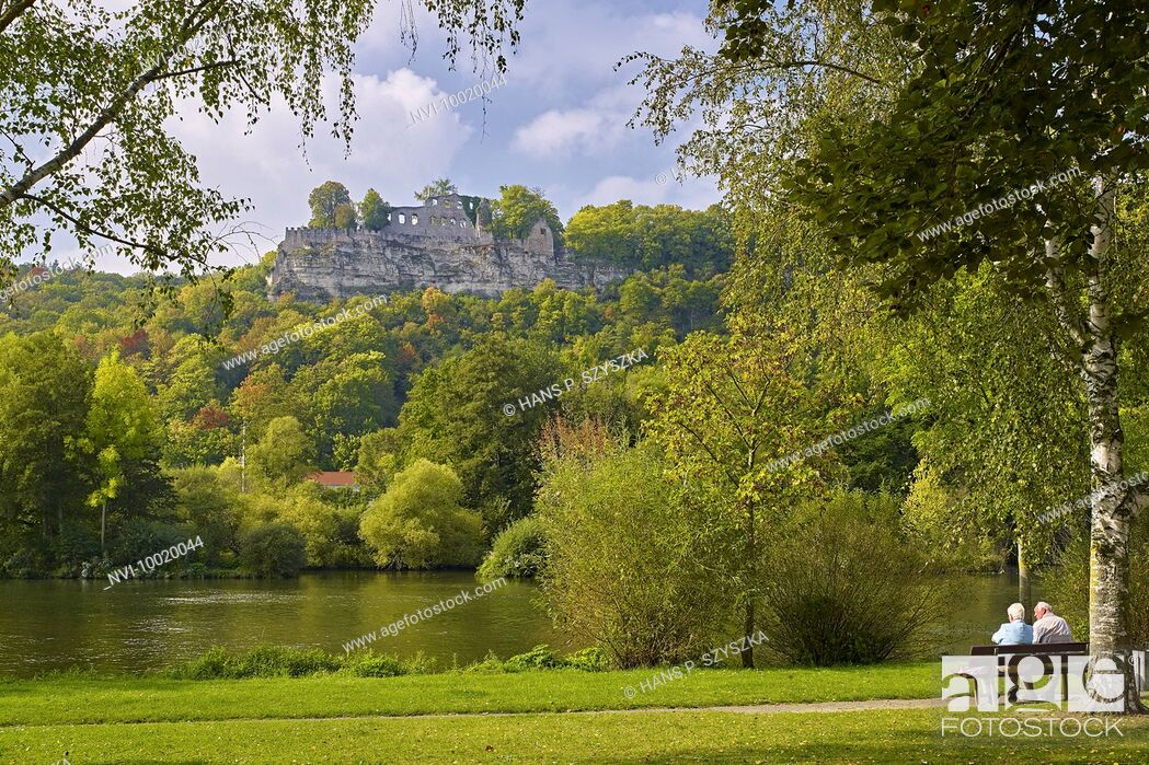 Stock Photo: Karlsburg castle at banks of the Main River, Karlstadt, Main Spessart District, Lower Franconia, Germany.
