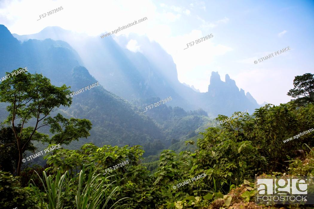 Stock Photo: Mountain range between Vang Vieng and Luang Prabang.