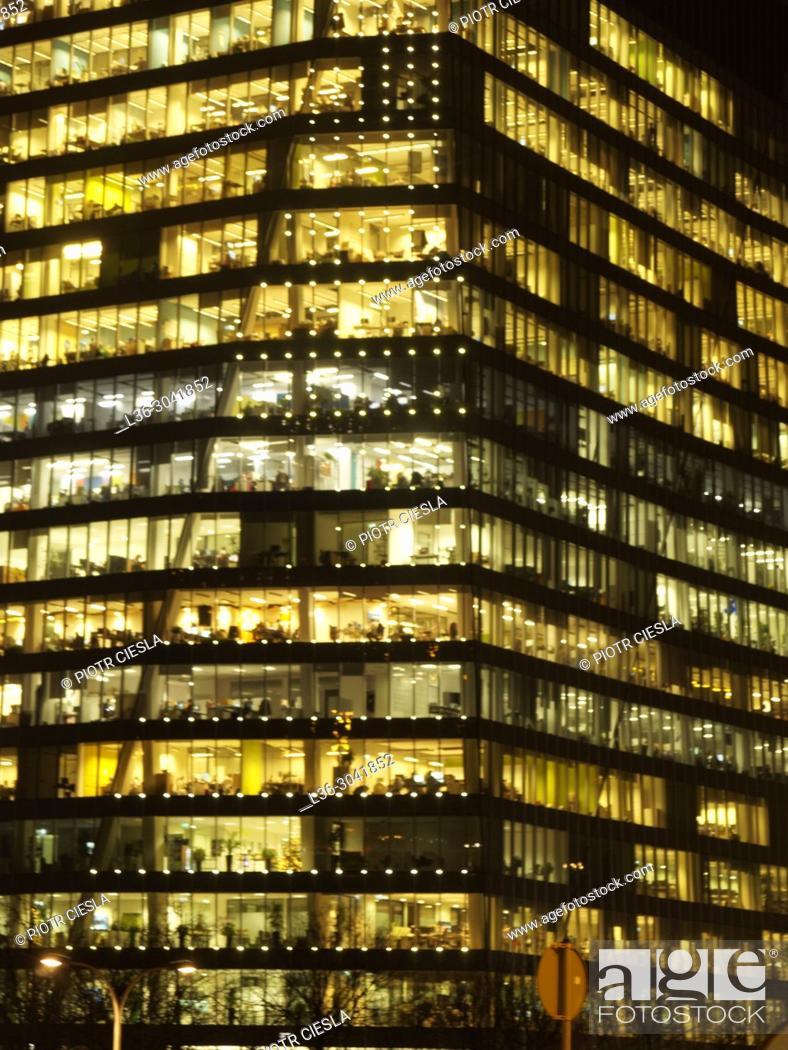 Stock Photo: Poland. Warsaw Office block.