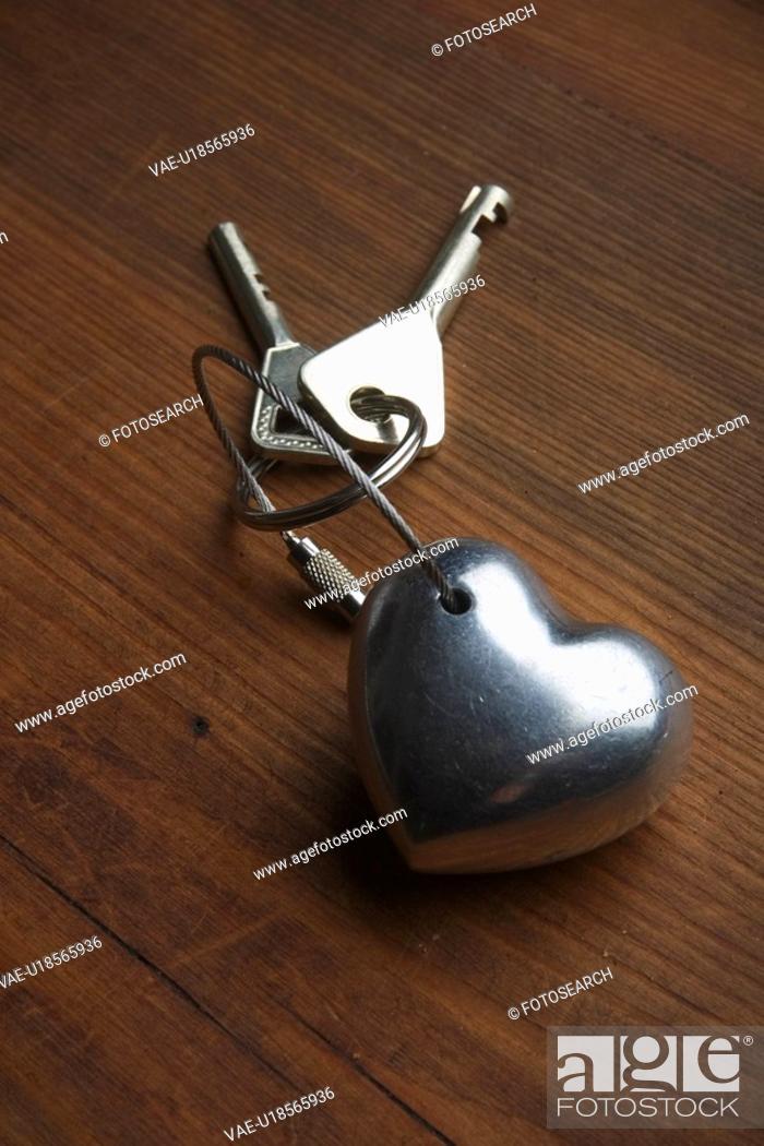 Stock Photo: Close-Up, Heart Shape, Indoors, Key Ring.