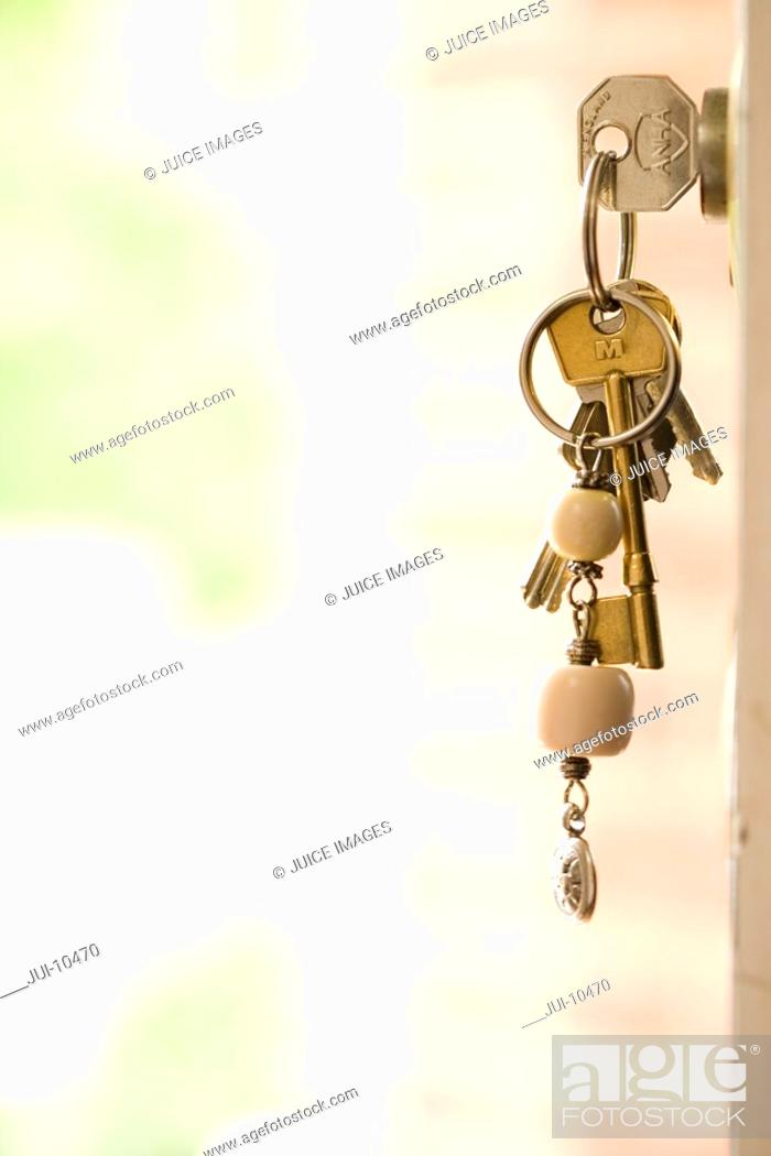 Stock Photo: Keys on keyring in lock, close-up, side view.