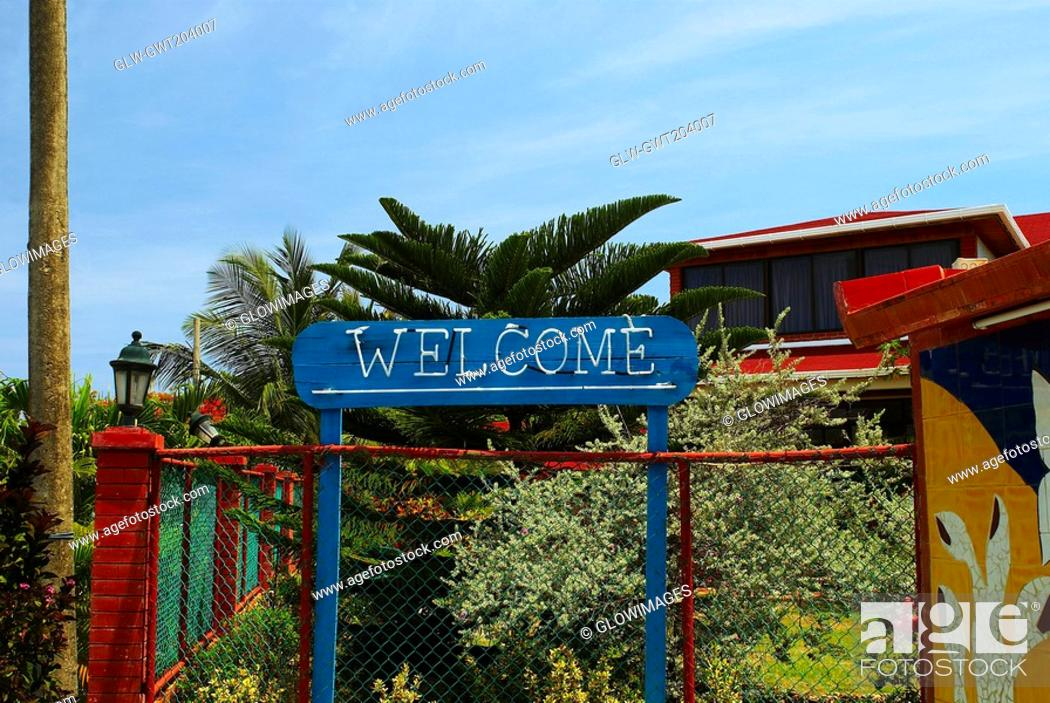 Stock Photo: Welcome sign in front of a building, San Andres, Providencia y Santa Catalina, San Andres y Providencia Department, Colombia.