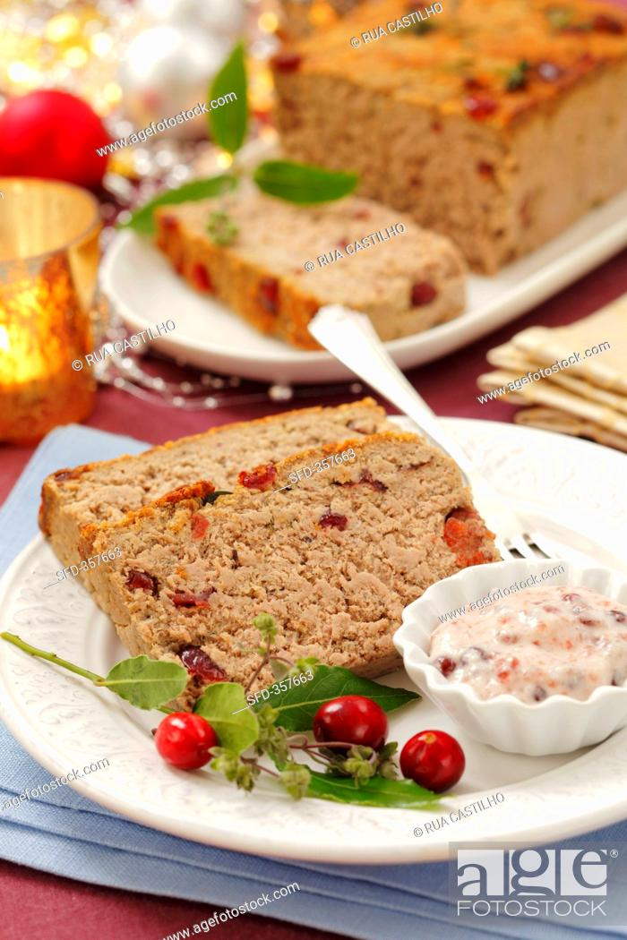 Christmas Meatloaf.Meatloaf With Cranberries For Christmas Dinner Stock Photo