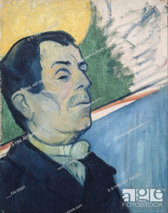 Stock Photo: Portrait of a man by Gauguin, Paul Eugéne Henri (1848-1903)/Oil on canvas/Postimpressionism/1888/France/Van Gogh Museum, Amsterdam/Portrait/Painting/Bildnis.