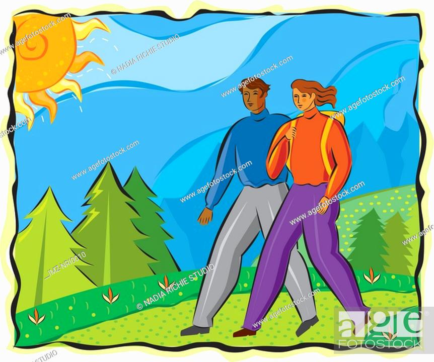 Stock Photo: An illustration of a man and a woman hiking.