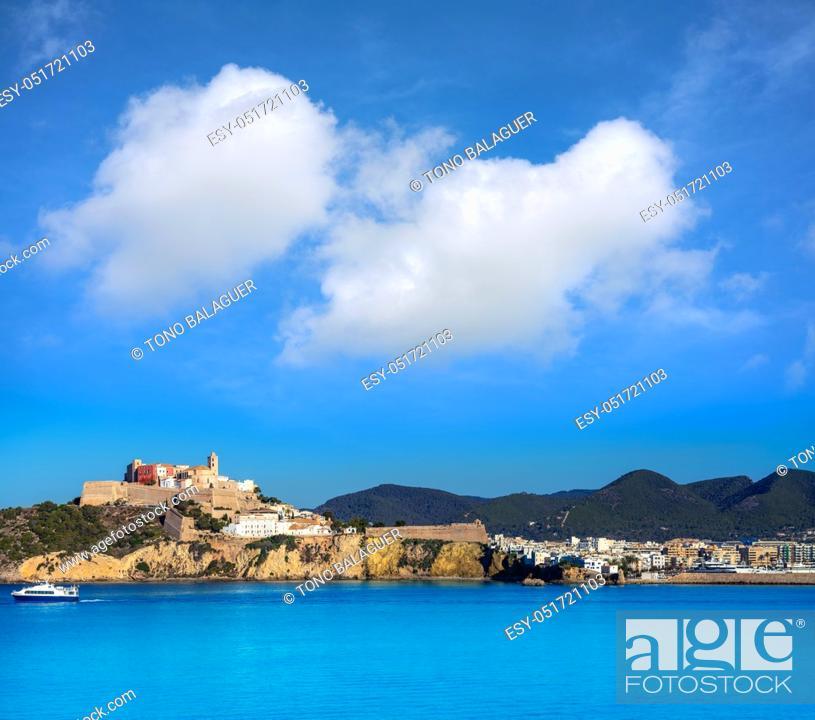 Stock Photo: Ibiza Eivissa Castle and skyline from sea in Balearic Islands.