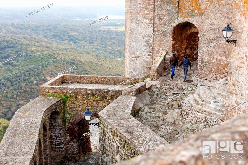 Stock Photo: Tourists at the castle in Castellar de la Frontera, Cadiz, Spain.