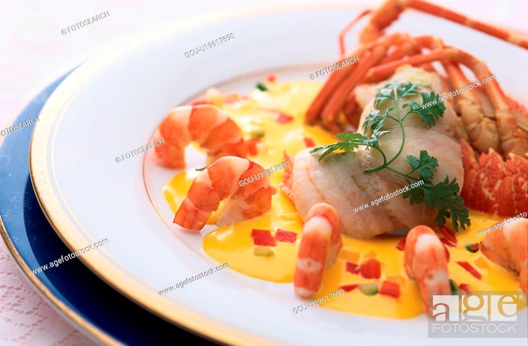 Stock Photo: Lobster And Shellfish Dish.
