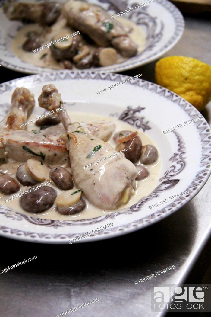 Stock Photo: Chicken with a creamy mushroom sauce.