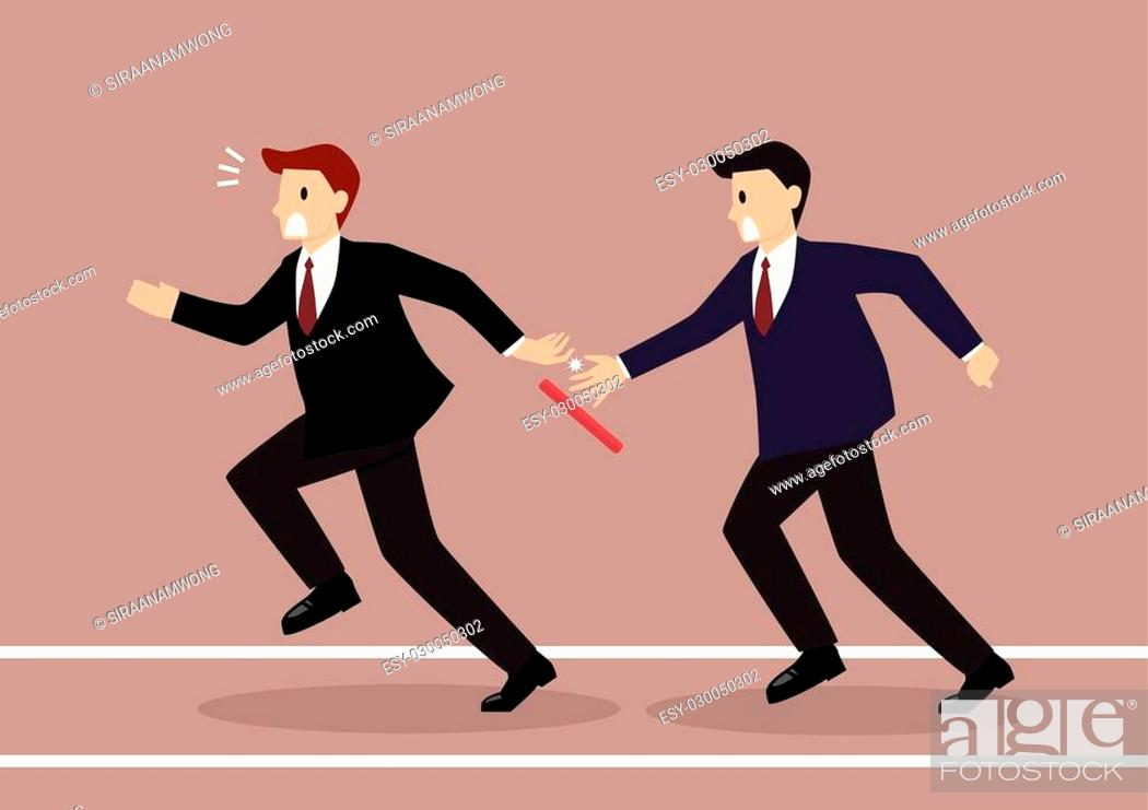 Stock Vector: Businessman fail to passing the baton in a relay race competition. Partnership or teamwork concept.