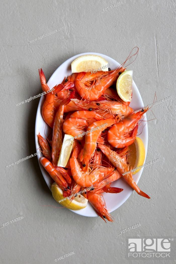 Stock Photo: A plate of prawns.