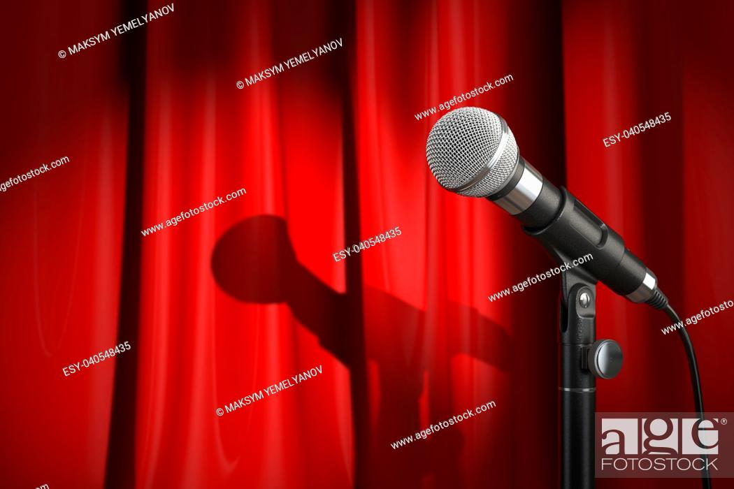 Stock Photo: Microphone on stage with red curtain. Music or performance concept. . 3d illustration.