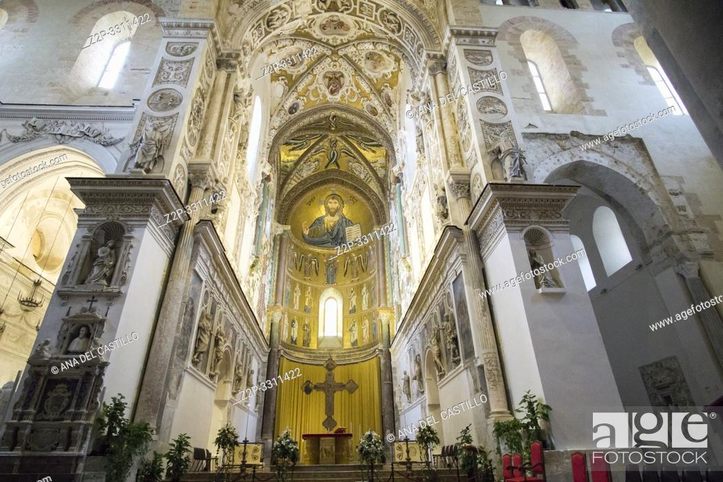 Stock Photo: The cathedral basilica interior Cefalu townscape Sicily village on the sea Italy.
