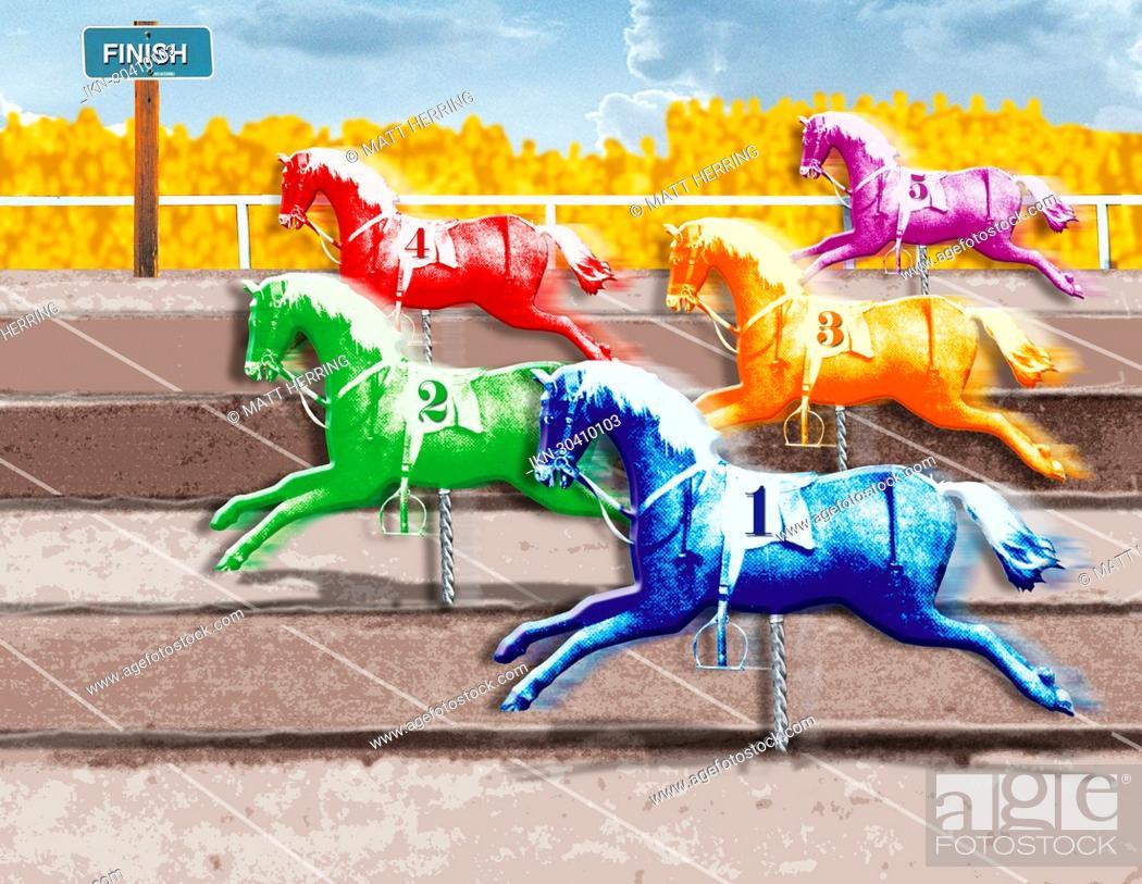 Imagen: Multicolored horses crossing finish line.