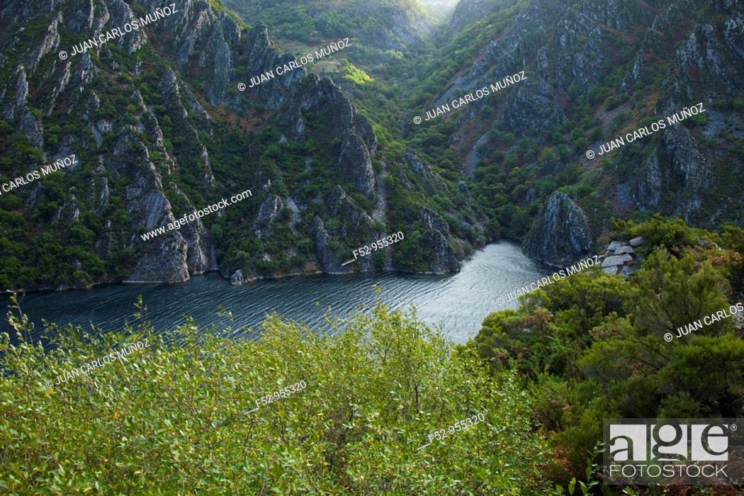 Stock Photo: Calabazos reservoir, Narcea river, Asturias, Spain.