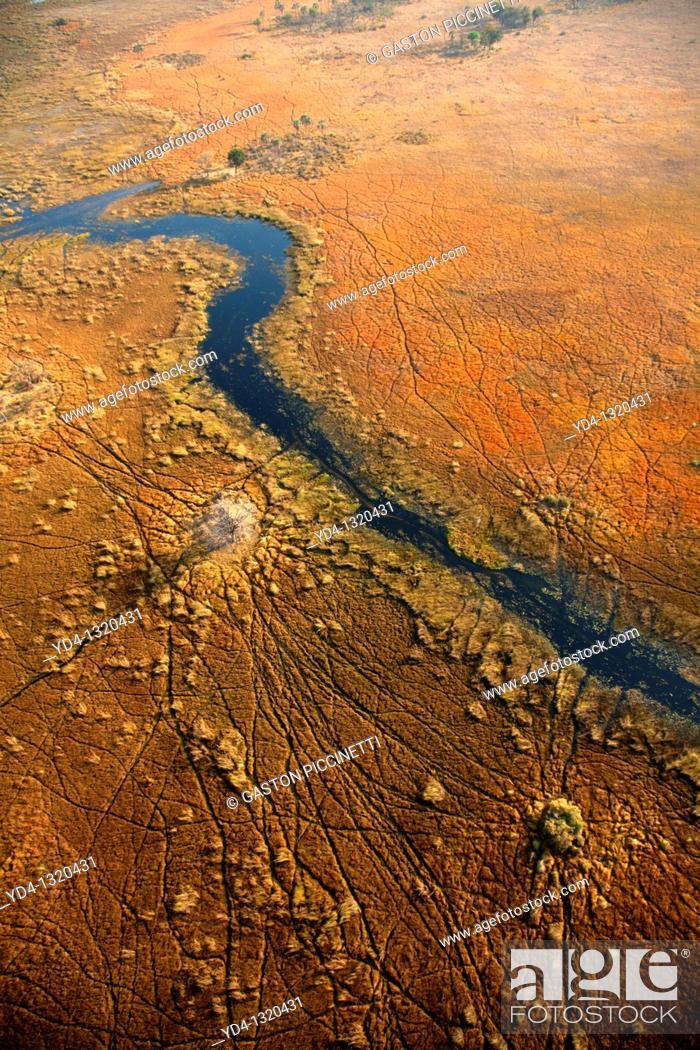 Stock Photo: Aerial View of the Okavango Delta, Botswana.