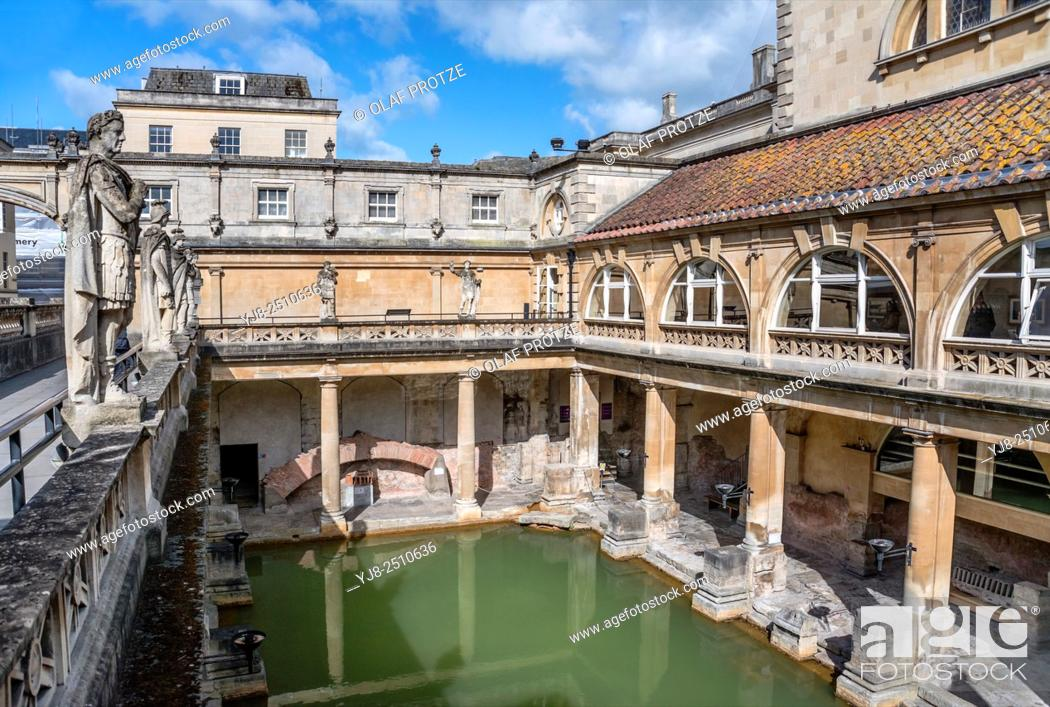 Stock Photo: The Roman Baths complex, a site of historical interest in the English city of Bath, Somerset, England. The house is a well-preserved Roman site for public.