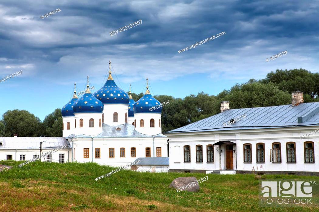 Stock Photo: Russian orthodox Yuriev Monastery, Church of Exaltation of the Cross, Great Novgorod, Russia.