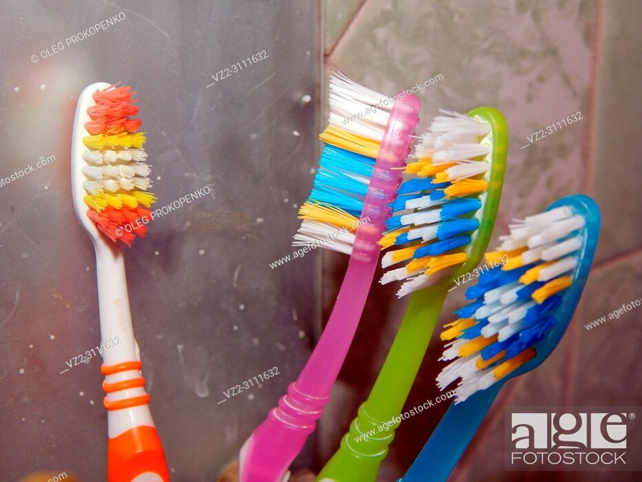 Stock Photo: Bathroom accessories for hygiene toothbrushes.