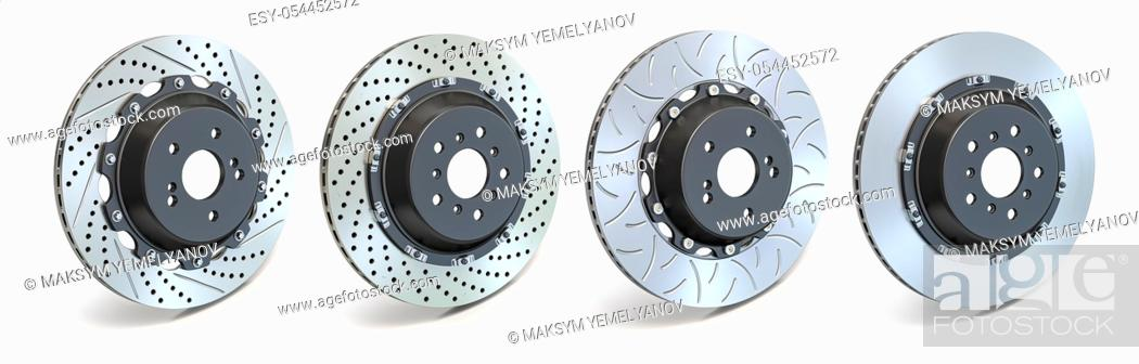 Stock Photo: Different types of brake disks. Drilled and slotted brake disks in a row. 3d illustration.