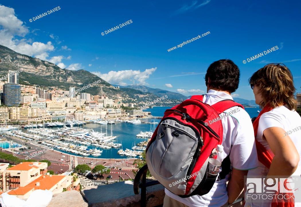 Stock Photo: Tourists viewing Port de Monaco Monte Carlo.