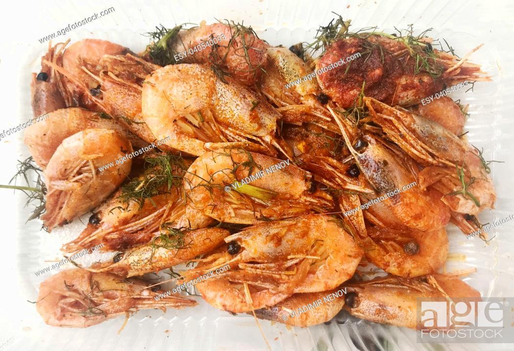 Stock Photo: Fresh Grilled Shrimp.