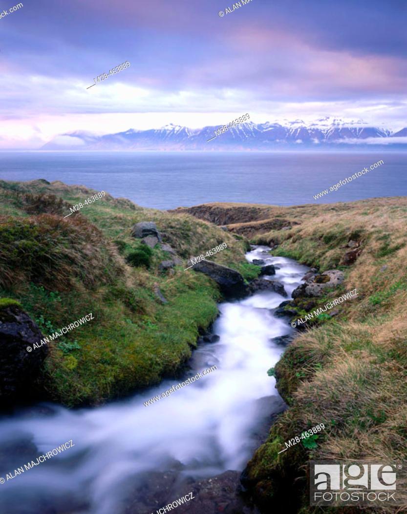 Stock Photo: Stream flowing into Eyjafjördur. Iceland.