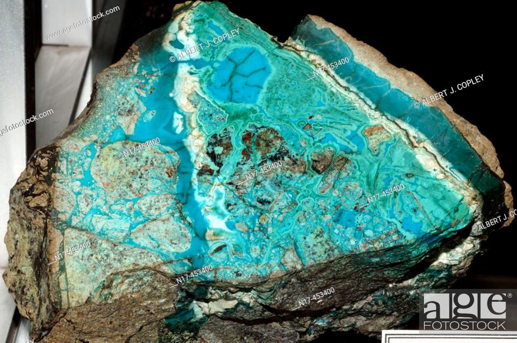 Stock Photo: mineral specimen, chrysocolla and malachite.